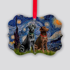 Starry Night - Two Labradors (Chocolate and Pi