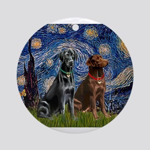 Starry Night - Two Labradors (Chocolate and Or