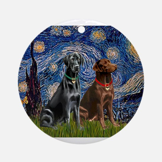 Starry Night - Two Labradors (Chocolate and.png Or