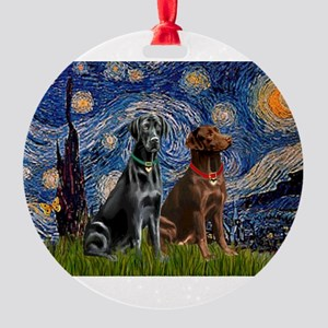 Starry Night - Two Labradors (Chocolate and Ro