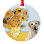 Sunflowers-YellowLab7 Round Ornament