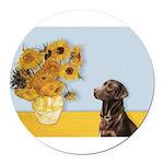 Sunflowers / Choc Lab 11 Round Car Magnet