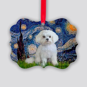 3-MP-STARRY-Malatese-Rocky Picture Ornament