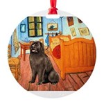 ROOM-Newfie-Brown2 Round Ornament