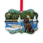 MP-SAILBOATS1-Newfie-Brown2 Picture Ornament