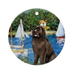 MP-SAILBOATS1-Newfie-Brown2 Ornament (Round)
