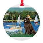 MP-SAILBOATS1-Newfie-Brown2 Round Ornament