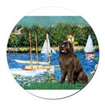 MP-SAILBOATS1-Newfie-Brown2 Round Car Magnet