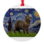MP-STARRY-Newfie-Brownstand.png Round Ornament