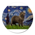 MP-STARRY-Newfie-Brownstand.png Round Car Magnet