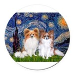 STARRY-PapiPAIR-both Round Car Magnet