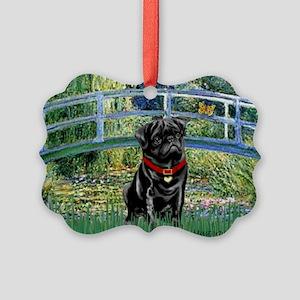 MP-BRIDGE-Pug-Blk14-RedC Picture Ornament