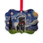MP-STARRY-Pug-Blk14 Picture Ornament