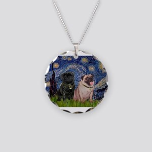 5x7-Starry-PugPair.png Necklace Circle Charm