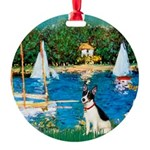 Rat Terrier - Sailboats Round Ornament