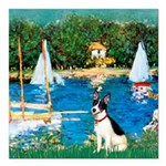 Rat Terrier - Sailboats Square Car Magnet 3