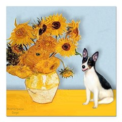 Rat Terrier - Sunflowers.png Square Car Magnet 3