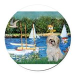 5.5x7.5-Sailboats-ShihPad Round Car Magnet