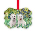 Irises-Westies 3and11-smaller Picture Ornament