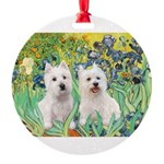 Irises-Westies 3and11-smaller Round Ornament