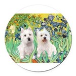 Irises-Westies 3and11-smaller Round Car Magnet