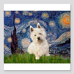 "MP-STARRY-Westie1 Square Car Magnet 3"" x 3"""