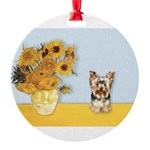 MP-Sunflowers - Yorkshire Terrier 17 Round Orn