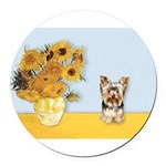 MP-Sunflowers - Yorkshire Terrier 17 Round Car