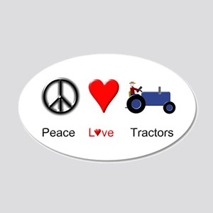 Peace Love Blue Tractor 20x12 Oval Wall Decal