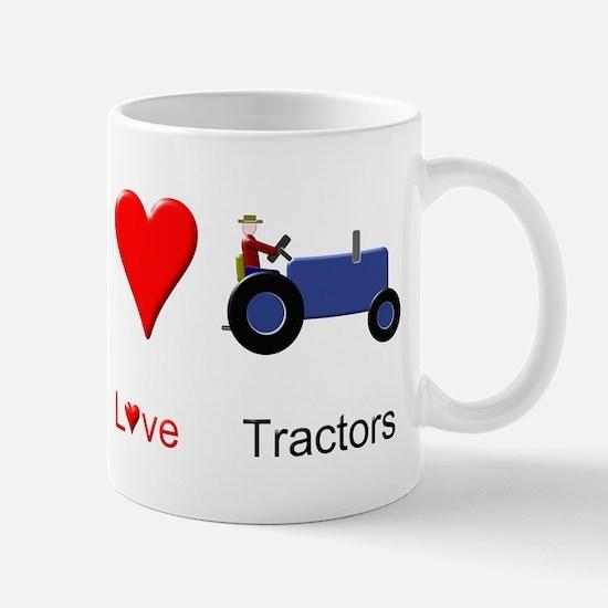 Peace Love Blue Tractor Mug