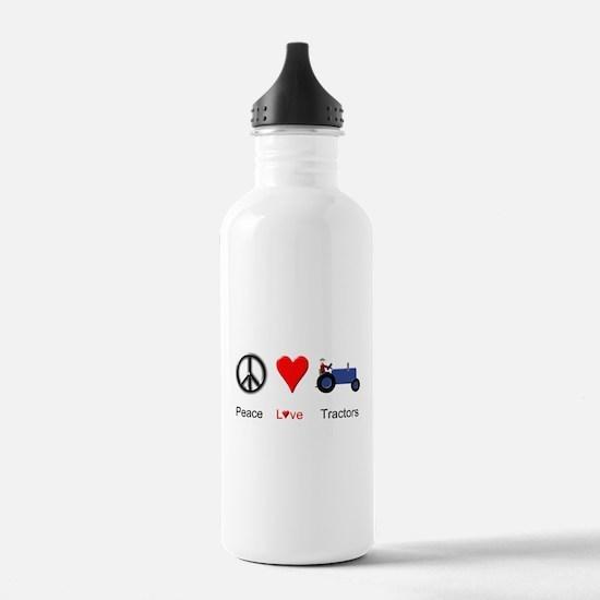 Peace Love Blue Tractor Water Bottle