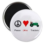 "Peace Love Green Tractor 2.25"" Magnet (10 pack)"