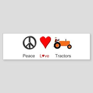 Peace Love Orange Tractor Sticker (Bumper)
