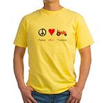Peace Love Orange Tractor Yellow T-Shirt