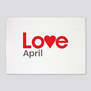 I Love April 5'x7'Area Rug