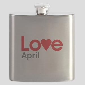 I Love April Flask