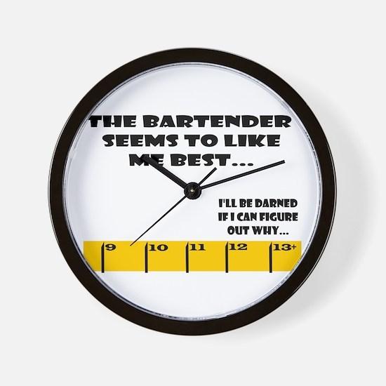 Ruler Bartender Likes Me Best Wall Clock