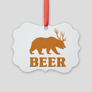 Bear+Deer=Beer Picture Ornament
