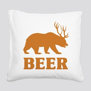 Bear+Deer=Beer Square Canvas Pillow