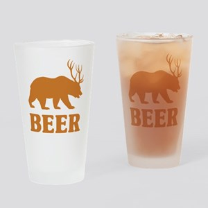 Bear+Deer=Beer Drinking Glass