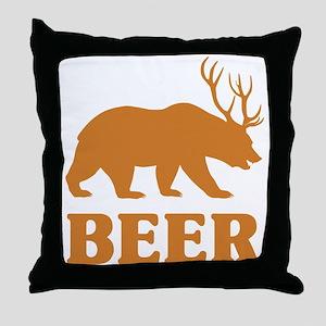 Bear+Deer=Beer Throw Pillow