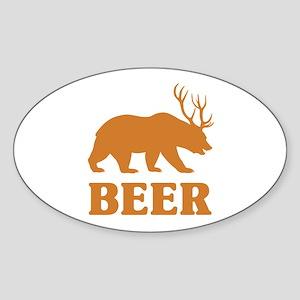 Bear+Deer=Beer Sticker (Oval)