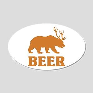 Bear+Deer=Beer 20x12 Oval Wall Decal