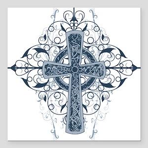 "Celtic Cross Square Car Magnet 3"" x 3"""