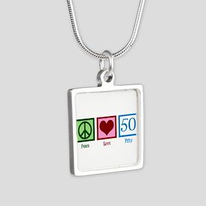 Peace Love 50 Silver Square Necklace