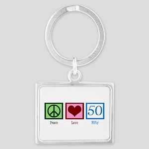 Peace Love 50 Landscape Keychain