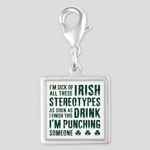 Irish Stereotypes Silver Square Charm