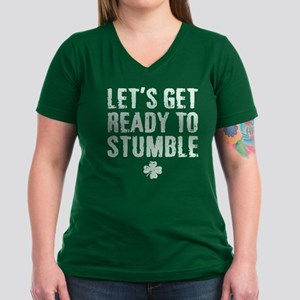 Ready to Stumble Women's V-Neck Dark T-Shirt
