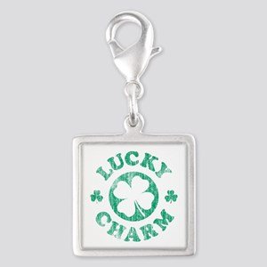 Vintage Lucky Charm Silver Square Charm