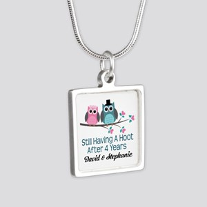 4th Anniversary Personalized Owls Necklaces